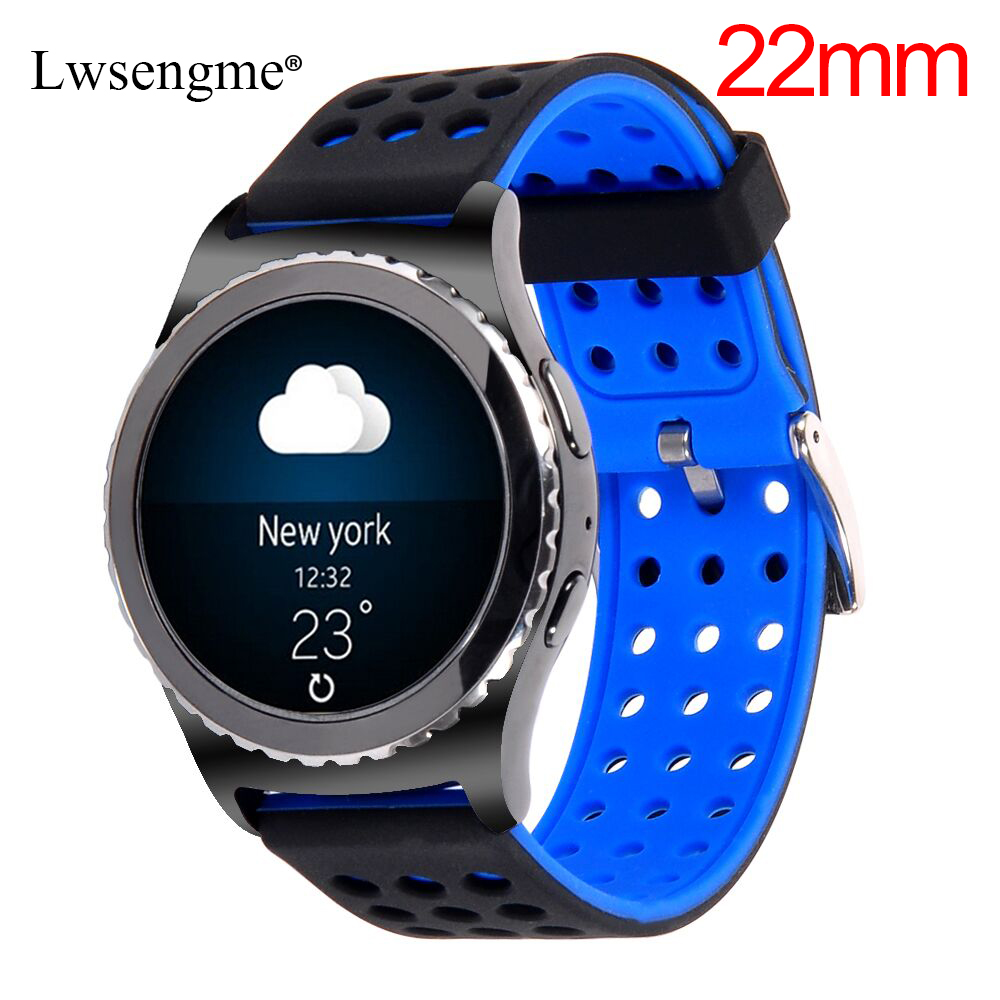 22MM Silicone Wrist Bands Strap for Moto 360 2 46mm Samsung Gear S3 W100 RW110 Urbane