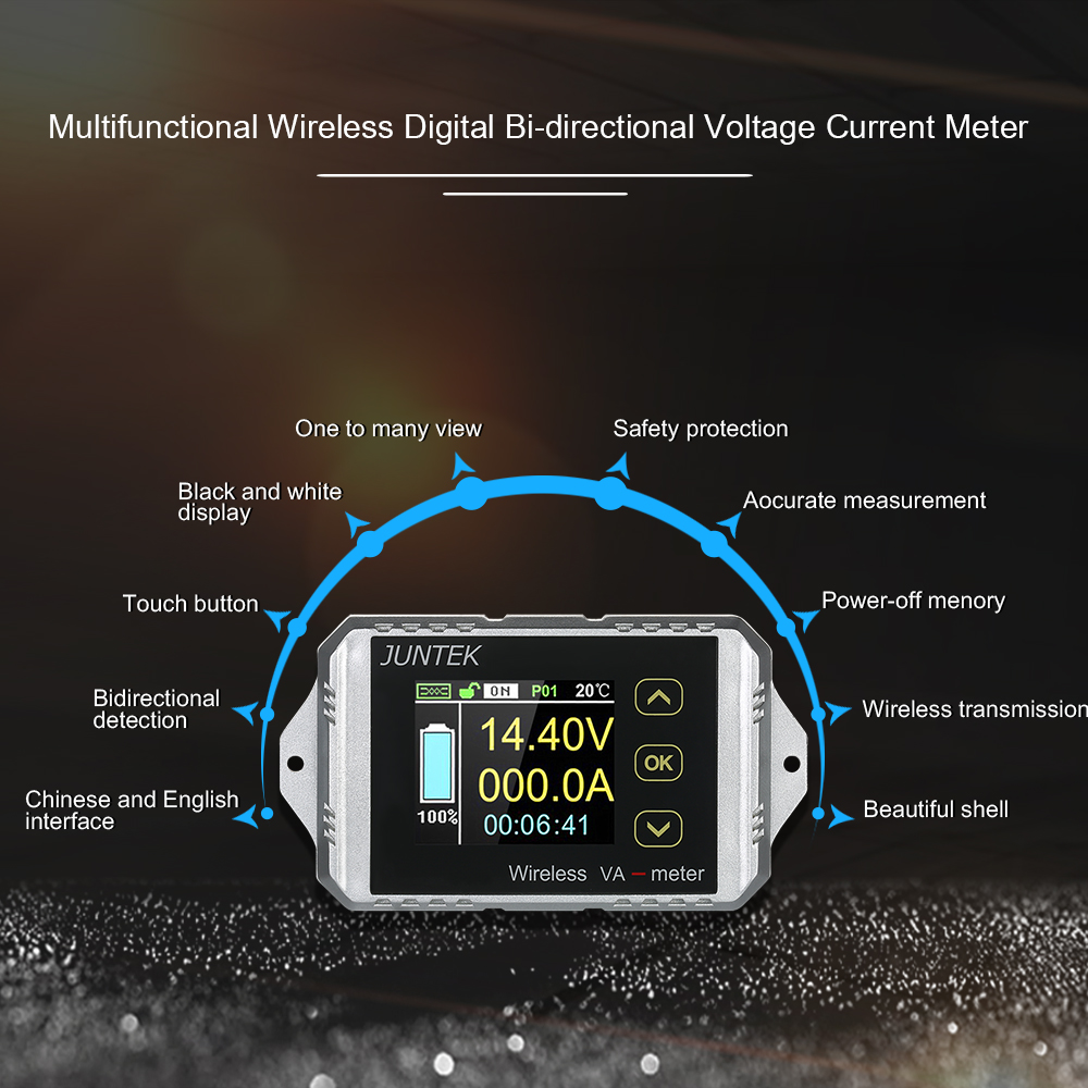 VAT-1200 DC 0.01-100V 0.01-200A Wireless Bi-directional Voltage Current Power Meter Ammeter Voltmeter Capacity Coulomb Counter цена