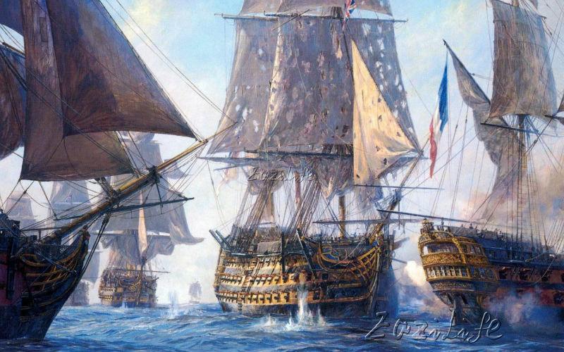 Impression sur toile bateau bataille navale peinture à l ...