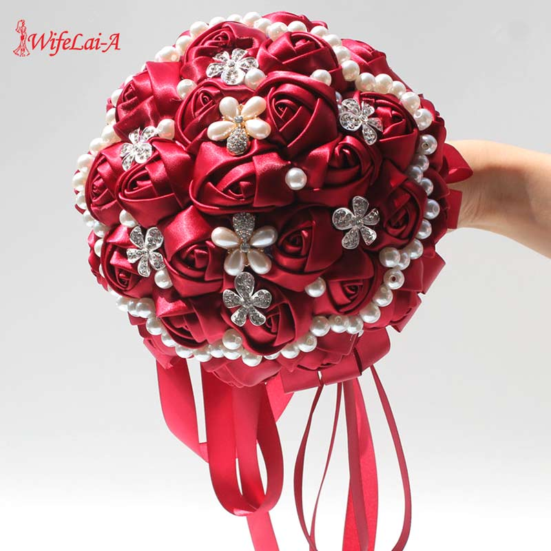 WifeLai-A 18CM Burgundy Wedding Flowers Diamond Bridal Bouquets Silk Rose Ribbon Satin Bouquet Fleur Artificielle 37Colors W225