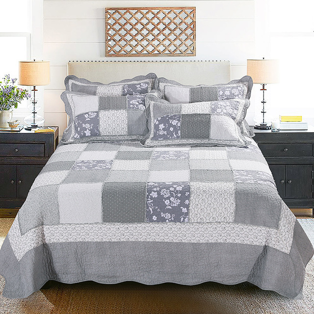 CHAUSUB American Vintage Patchwork Quilt Set 3pcs/4pcs Washed Cotton  Coverlets Bedspread Bed Sheets Quilted