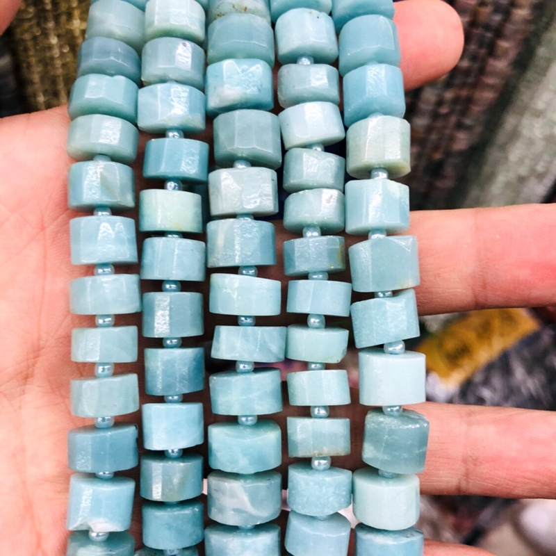 """Modest Wholesale 2strings Amazonite Faceted Tube Beads, Approx 10-12mm Faceted Natural Stone Spacer Beads 15.5""""/strand"""