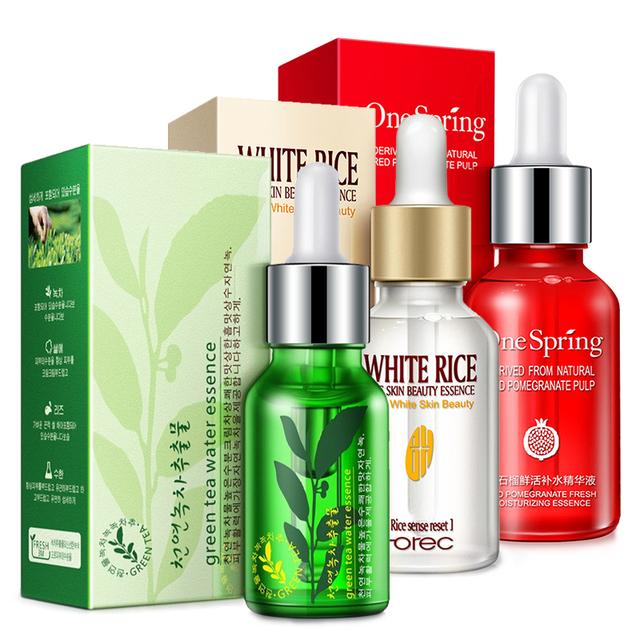 Producto de Importación  3 pzas Suero de arroz blanco de semillas de té verde Natural Anti envejecimiento anti arrugas hidratante tratamiento para el acné