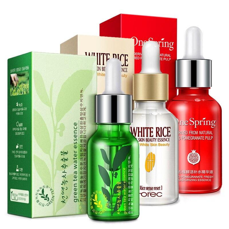 ROREC 3pcs Extreact Soro Rosto Arroz Branco Natural de Semente de Chá Verde Anti Envelhecimento Rugas Hidratante Rosto Tratamento De Acne Essência