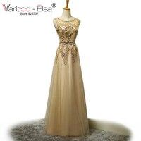 VARBOO_ELSA Real Photo Sheer Neckline Elegant Evening Dresses Pearl Beading Sparkly Long Gold Prom Dresses Abendkleider 2018