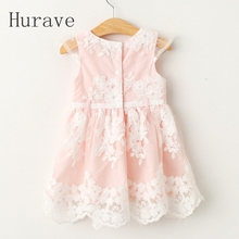 Hurave Baby Girl Dresses 2017 Summer cute Style Children summer lace Clothing Embroidery Dresses For Girl Vestido Infant Girl