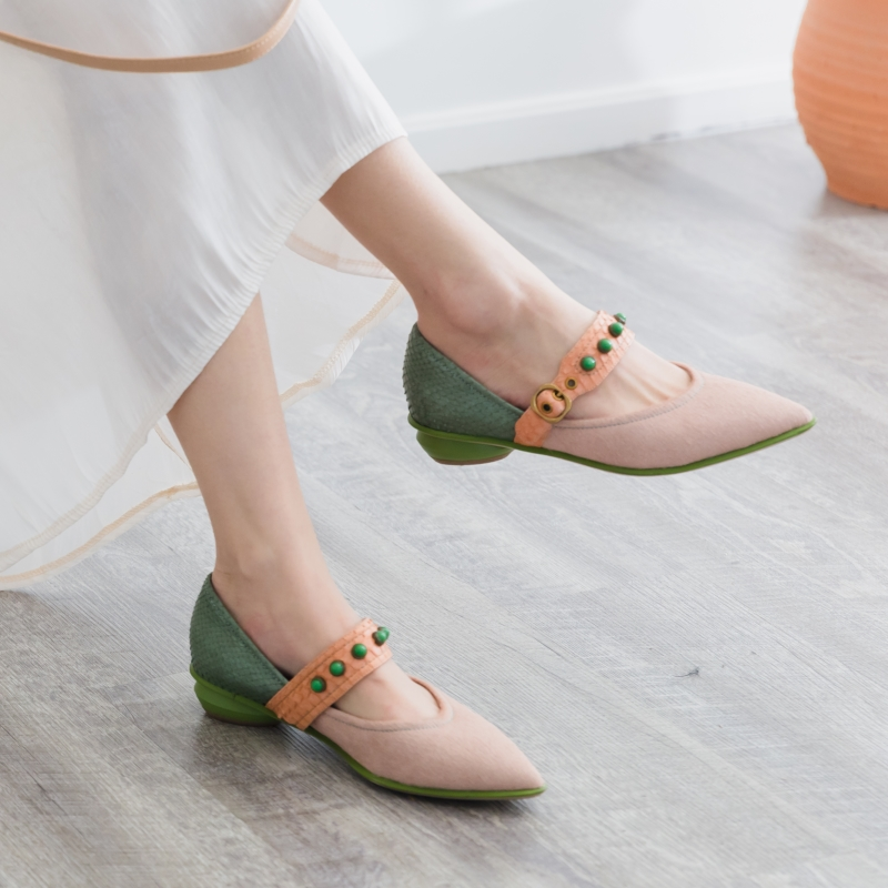 Moda cuero genuino + patrón de serpiente de pelo de caballo dulce Mary Jane zapatos punta puntiaguda tacones altos bombas mujeres tacones altos señoras-in Zapatos de tacón de mujer from zapatos    1