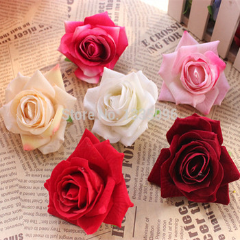 Free shipping 2pcs high simulation process, flannelette  rose Silk flowers wedding shooting props Arch decorative flowers 7 cm rose