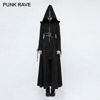 Панк рейв Готический зимний приталенный Темный Ворон Ангел полная длина длинное пальто шерсть винтажная повязка с длинным рукавом куртки с