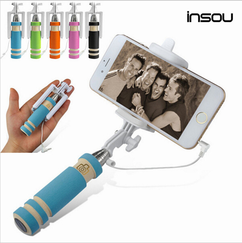 Portabile pliabile Cabluri mini auto Selfie Sticks Pentru iPhone Samsung LG Sony XiaoMi selfie Built-in Camera de declanșare Monopod Trepied