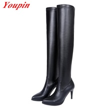 Women Low heeled Knee Boots Winter Short Plush Genuine Leather Spike Heels Long Boots Pointed Toe