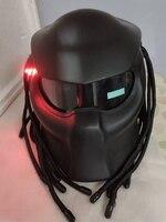 Masei Новинка 2017 года Хищники шлем Светодиодная лента автомобиль Стайлинг маска стекловолокна мотоцикл Железный человек полное лицо матовый