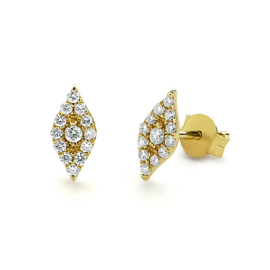 Moissanite Earrings Lab Diamond Stud Earrings Real 14k Yellow Gold Round Cut Stud Earrings Bridal or Birthday Gift For Women pair of stylish rhinestone triangle stud earrings for women