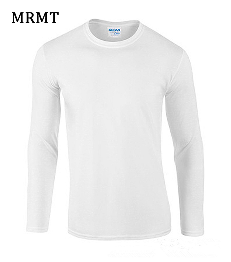 2019 MRMT 100% Cotton Men's Long Sleeve T Shirt Pure Color Culture Cotton Tshirt Long Neck T-Shirt Solid Tee