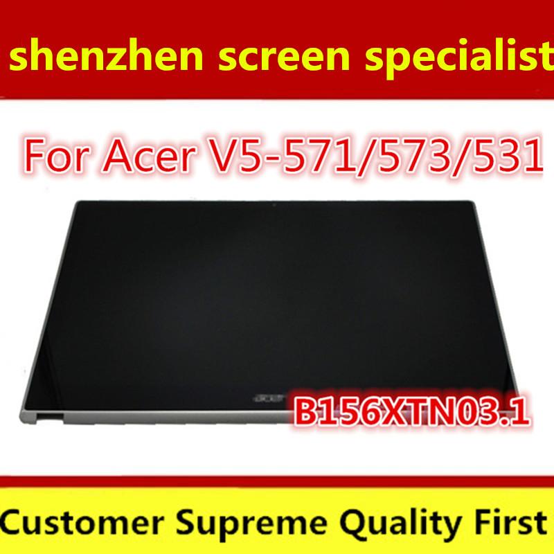 """Prix pour Pleine Nouvelle 15.6 """"LCD Écran Tactile Digitizer Assemblée D'affichage B156XTN03.1 Pour Acer Aspire V5-571 V5-571P V5-571PG + Avant Lunette"""