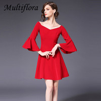 Multiflora dress Women Mini Dress Solid lash neck Solid Wine red dress marry toast clothing Wedding engagement lady vestidos