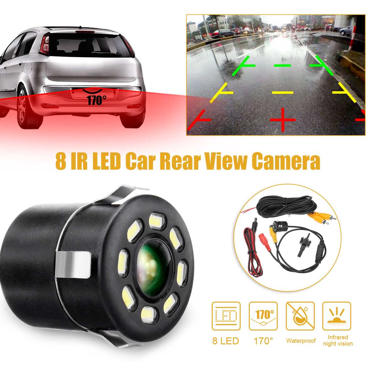 170 Degree 12V 8 LED Car Auto Rear View Backup Camera HD Parking Reverse Cam IR Night Vision Waterproof Vehicle Parking Camera
