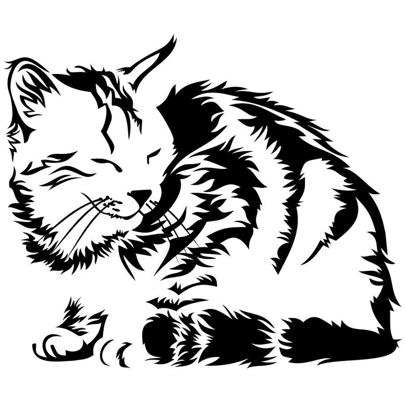 14 9 12 5CM SLEEPING DORMANT CAT Animal Car Stickers Funny Window Decorative Decals Motorcycle Accessories