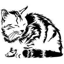 14.9*12.5CM SLEEPING DORMANT CAT Animal Car Stickers Funny Window Decorative Decals Motorcycle Accessories C4-0445