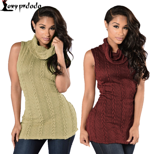 01064cc42 New Khaki/Wine Turtleneck Cardigan Women Sweater Fashion Autumn Winter  Sleeveless Knitted Vest Casual Ladies Sweater Tops Jumper-in Vests from  Women's ...