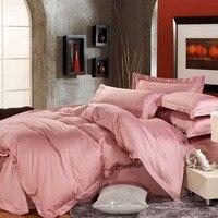 Princesa rosa roxo cor 1200 contagem da linha longa-cetim de algodão de fibra rainha rei da cama 4 peças conjunto de cor sólida tamanho da cama