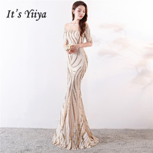 Its Yiiya  Evening gowns Sequined O-neck Elegant Floor-length long Prom dresses Zipper back Beading Mermaid Party C120