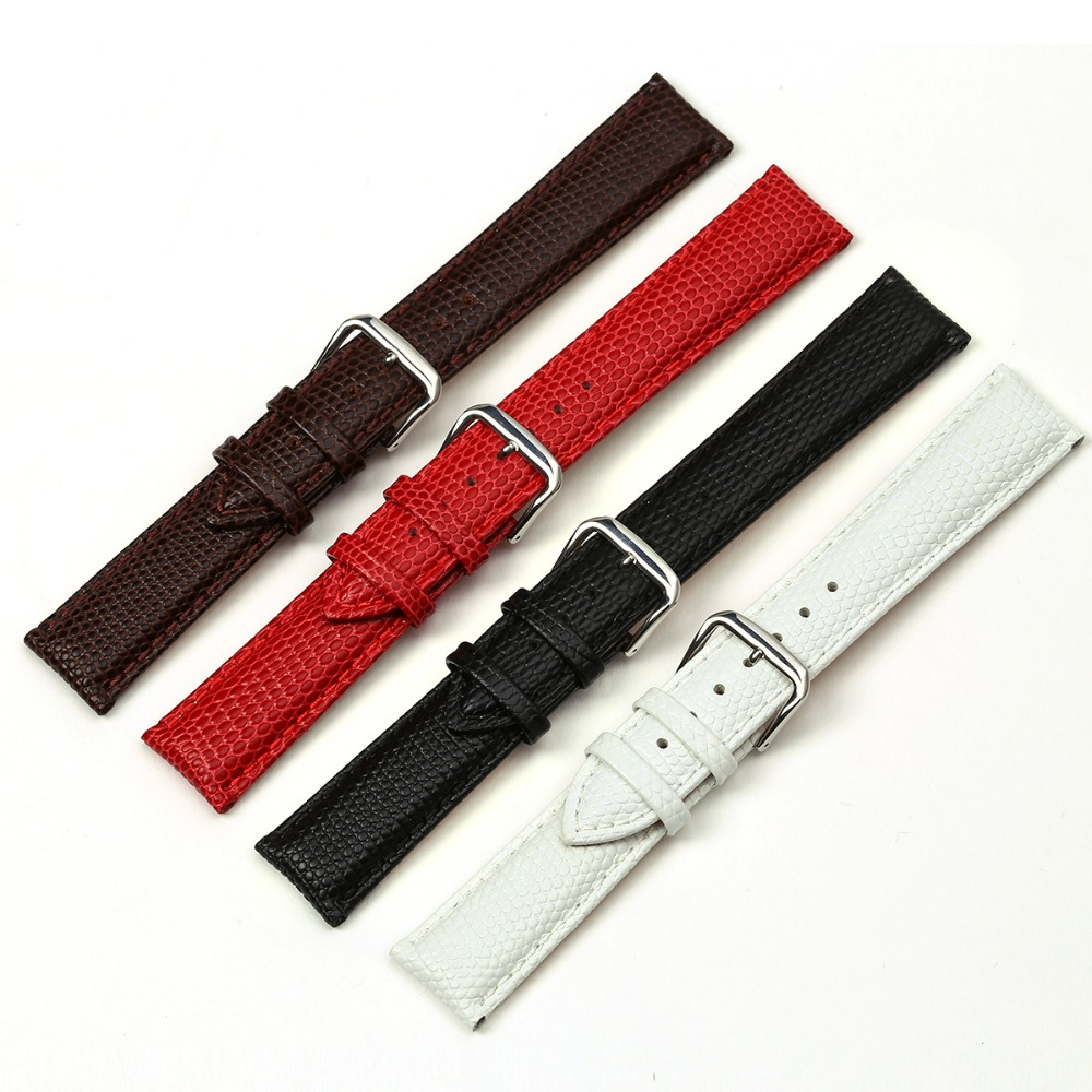 Wholesales Imported Genuine Calfskin Lizard Pattern Genuine Leather Replacement Women Watchband Black Brown Red White 18mm 20mm цена и фото