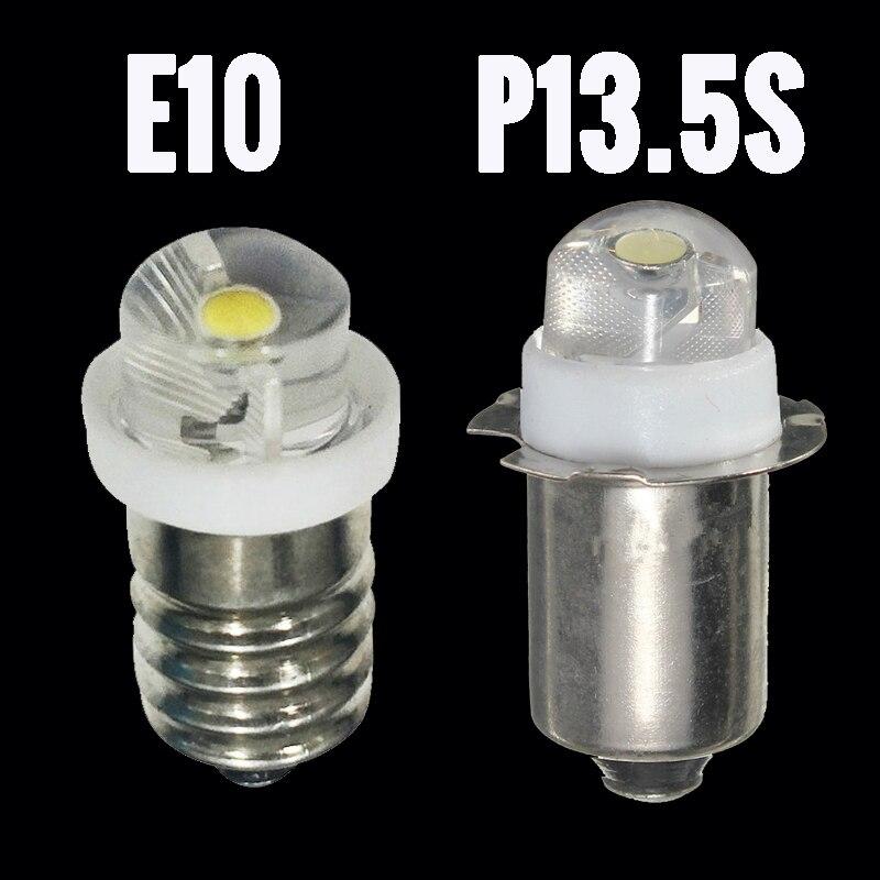 3V 6V P13.5S E10 LED Bulb For Focus Flashlight Replacement Bulb 0.5W Led Torch Work Light Lamp 60-100Lumen  White DC 3V  6V