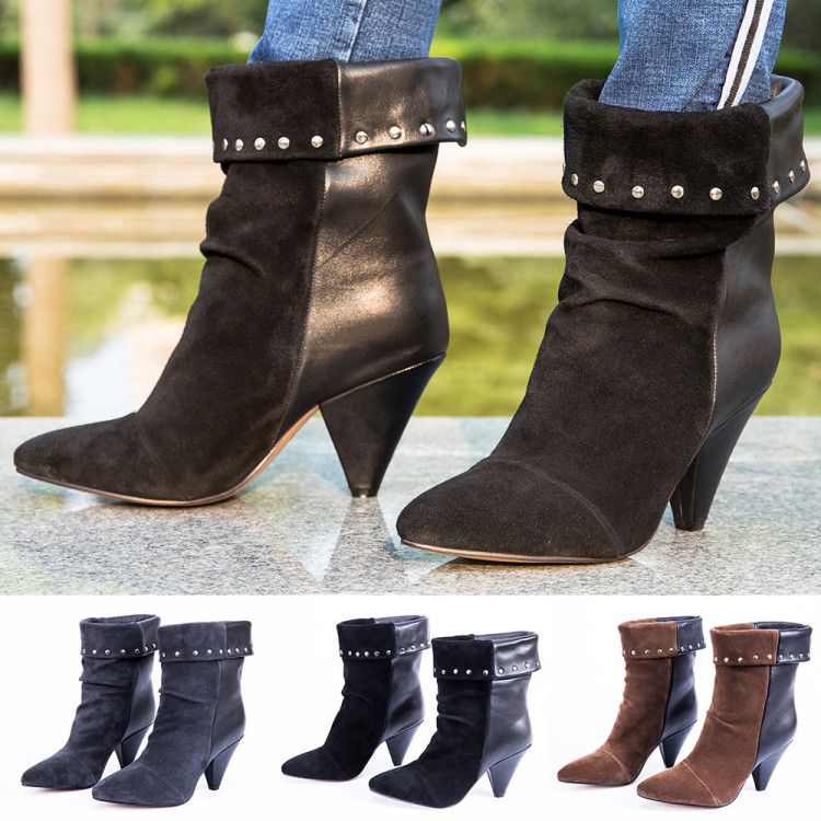 women`s winter genuine leather spring quality suede fringe ankle boots casual cowboy boots rivet motorcycle shoes punk boots