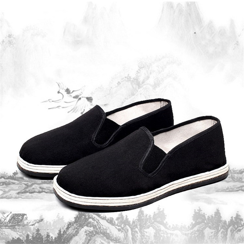 Black Cotton Shoes Bruce Lee Vintage Chinese Kung Fu Shoes Breathable Tai Chi Karate Martial Art Old Beijing Shoes for Men Women