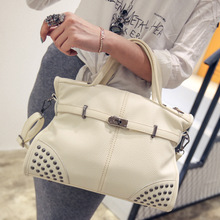Casual Tote bags 2016 European and American style big handbag High quality embossed PU leather rivets women shoulder bag