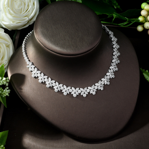 Image 5 - HIBRIDE Hot Selling Elegant Noble Clear Bright CZ Leaf Pendant White Color Charm Choker Necklace for Bridal Wedding N 1008