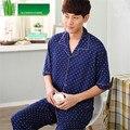 Мужская Пижама Лето Бамбуковое Волокно Пижамы Мужчины С Коротким рукавом Брюки Пижамы Отец Мужчины lounge Пижамы Установить Плюс Размер 4XL