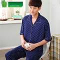 Men's Pajamas Summer Bamboo Fiber Pyjamas Men Short sleeve Trousers Sleepwear Father Men lounge Pajama Set Plus Size 4XL