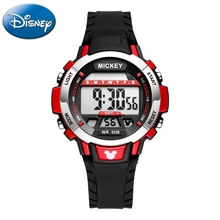 Disney Mickey Mouse Children Sport 5 Bar Waterproof Rubber Band Watches Boys Girls Daily Wear Feature Alarm Clock  Student Time