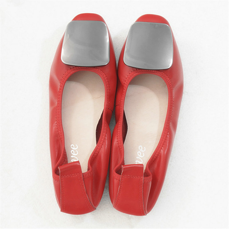 Fashion Genuine Leather Flat Shoes For Women Square Head Soft Leather Metal Buckle Ballet Flats Low