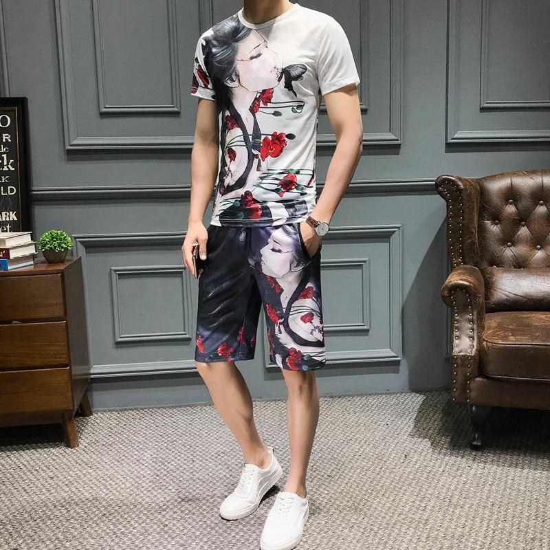 Loldeal Summer 3D Beauty Women's Print Set Ice Silk Short Sleeve T Shirt + Shorts Set Men's Print Butterfly Men's Set-in Men's Sets from Men's Clothing on Aliexpress.com   Alibaba Group 5