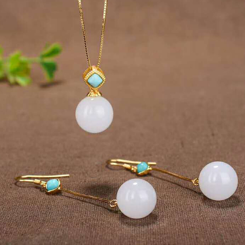 Drop Shipping Real 925 Sterling Silver Earrings Round Jade Turquoise Handmade Wedding For Women