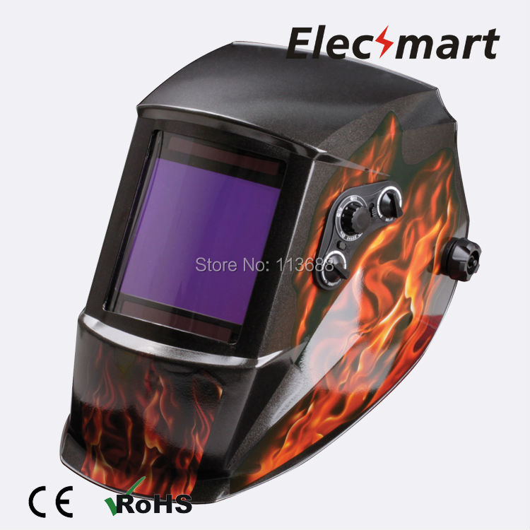 Fire type auto darkening welding helmet TIG MIG MMA electric welding mask/helmet/welder cap/lens for welding fire flames auto darkening solar powered welder stepless adjust mask skull lens for welding helmet tools machine free shipping