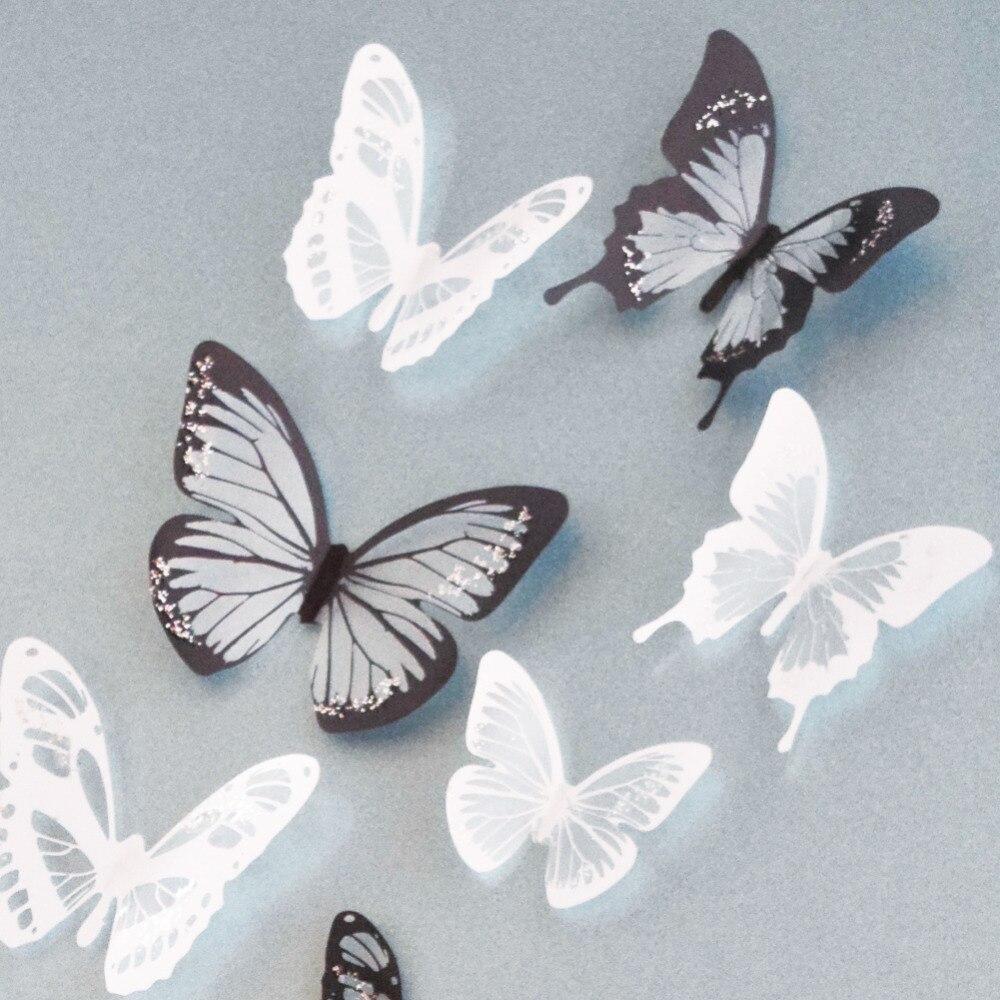 18 Stücke 3d Kristall Schmetterlinge Diy Home Decor Wandaufkleber Weihnachten Geburtstag Hochzeit Kuchen Dekoration Kühlschrank Aufkleber