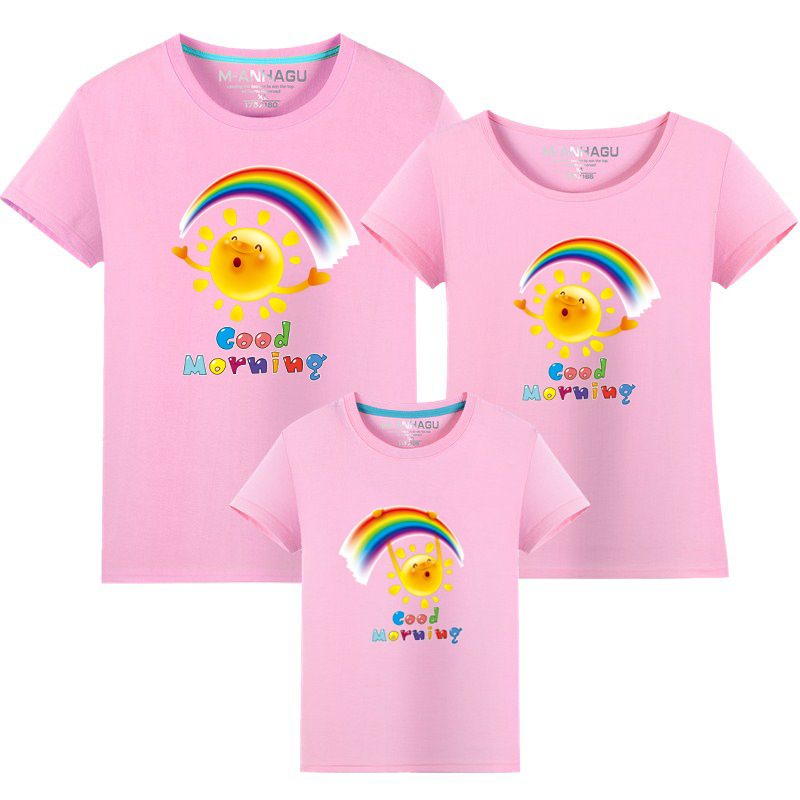 Summer Family Matching Outfits T shirt Mom Dad Son Daughter Rainbow T Shirts Family Mother Father Kids Matching outfits Tees (6)