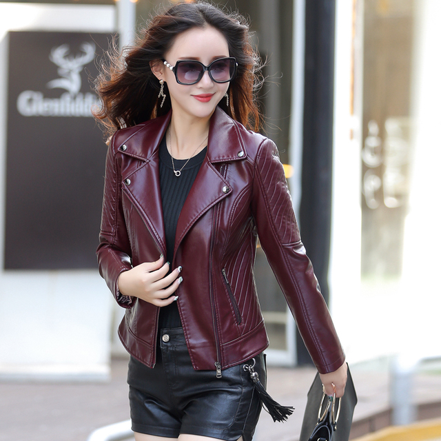 leather jacket women Autumn Winter Faux Leather Jackets ...