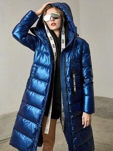 Image 4 - Missfofo 2019 novo inverno para baixo casacos longo inverno capa parka 90% pato branco para baixo magro sólido casaco feminino S XL