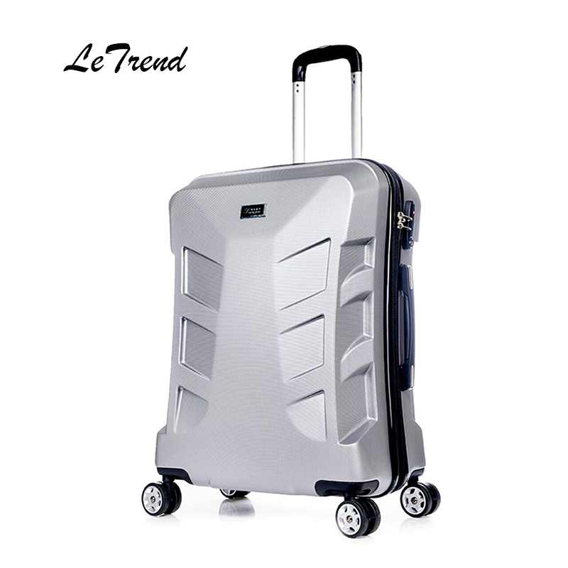 LeTrend PC Rolling Luggage Spinner Men Trolley 20 inch Stuent Travel Bag Trunk 24 inch Carry on Creative Suitcase Wheels