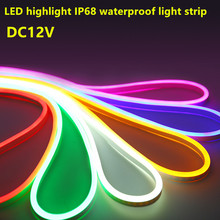 12v led neon rope strip light flexible waterproof ip68 2835 smd 120led white warm white yellow red green blue RGB ice blue