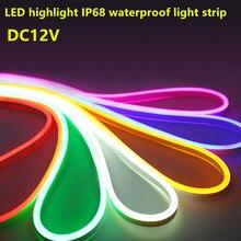 Tira de led neón de 12v resistente al agua, flexible, ip68, 2835 smd, 120led, Blanco cálido, blanco, amarillo, rojo, verde, azul, RGB, azul hielo