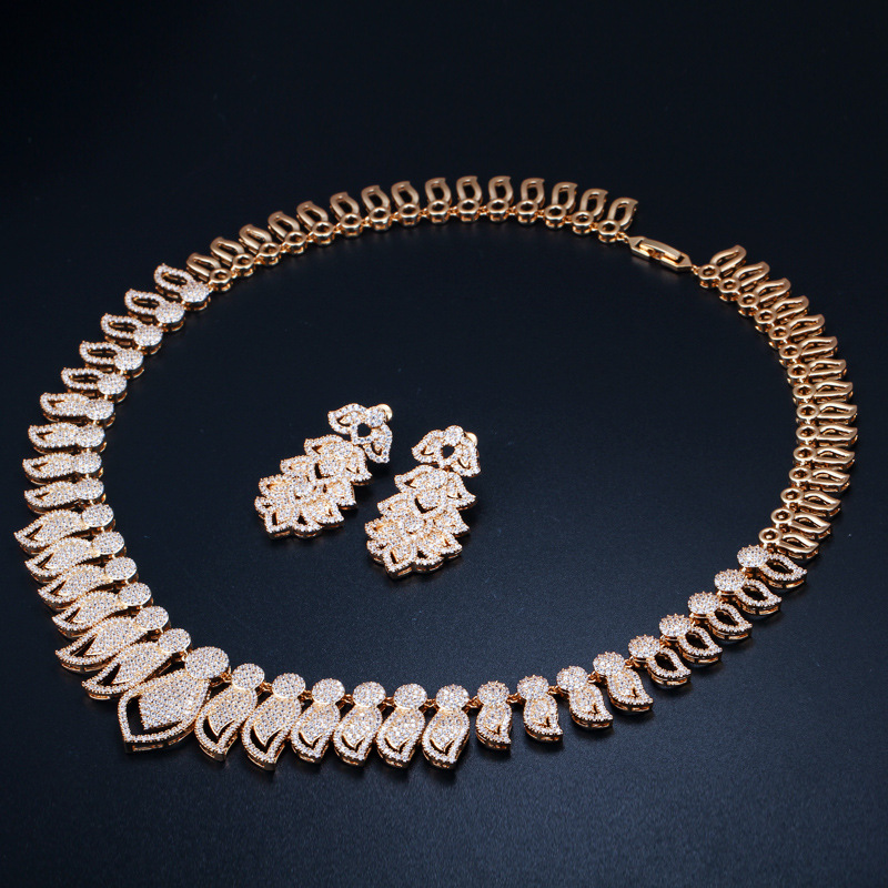 high quality rose gold necklace and earrings set wedding jewelry