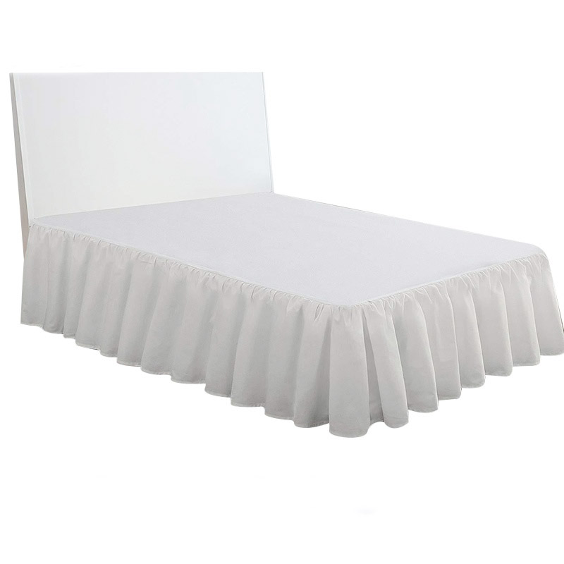 Bedroom Hotel Bed Skirt Bedsheet Bed Skirt Bed Cover Bed Skirt Sheet Bedspread Bedding Protector Home Textile Solid Cover