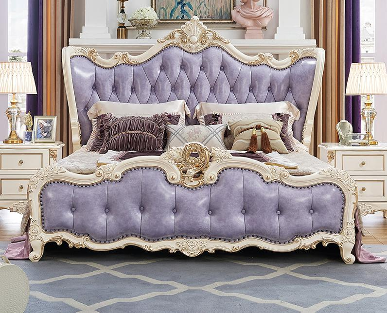 Hot Sale 5 Pieces Purple Color King Size Solid Wood Hand-carved Modern Princess Bedroom Furniture Set Made In China simple leisure contemporary modern leather bed king size bedroom furniture made in china