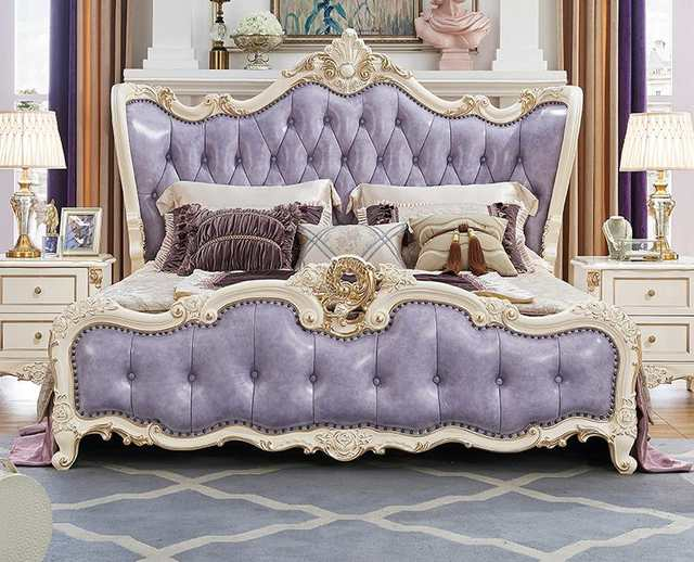 Hot Sale 5 Pieces Purple Color King Size Solid Wood Hand-carved Modern  Princess Bedroom Furniture Set Made In China